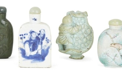 Four Chinese snuff bottles, late 19th - early 20th century, with one porcelain snuff bottle painted in underglaze blue with a scholar and attendant, another turquoise glazed biscuit porcelain snuff bottle moulded with a bird perched in branches and...