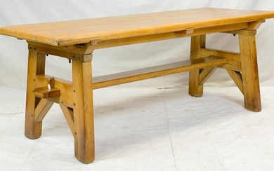French Arts & Crafts Style Trestle 7 ft Farm Table
