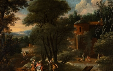 """French school of the second half of the 17th century. """"Arab assailants"""". Oil on canvas...."""
