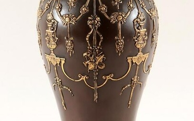 GILT AND PATINATED BRONZE VASE CIRCA 1900