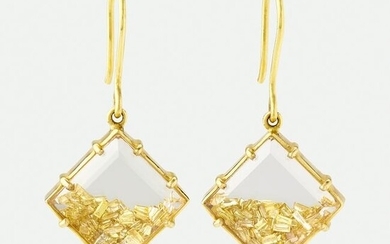 Gold and colored diamond earrings