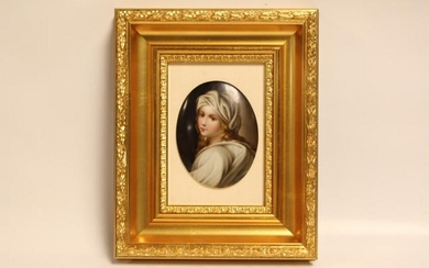 """Hand Painted Porcelain Plaque ,Signed""""Ruth"""""""