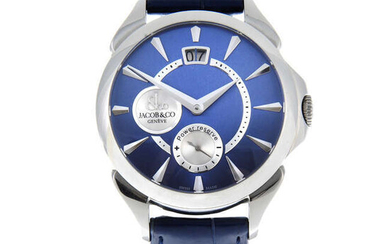 JACOB & CO. - a gentleman's stainless steel Palatial Classic Manual Big Date wrist watch.
