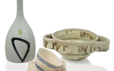 Karin Hessenberg (British b.1944), twin-handled bowl, 20th century, impressed mark to base, A porcelain twin-handled bowl with oxidised mint glaze, 25cm long: together with a Fiona Bourke (British) cup and saucer, painted marks to base read 'FB.Nec...