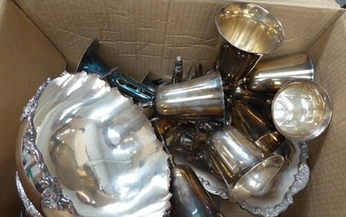 Large box of EPNS and plated ware goblets, bowls, dishes, tr...