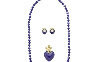 Lot consisting of Heart pendant, necklace and earrings in low title gold, lapis lazuli and pearl