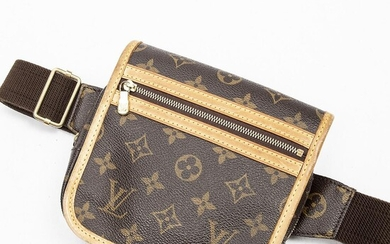 """Louis Vuitton: A """"Bosphore"""" belt bag of brown monogram canvas with brown leather trimmings, gold tone hardware and adjustable strap of fabric. – Bruun Rasmussen Auctioneers of Fine Art"""