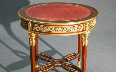 Louis XVI Style Ormolu Mounted Mahogany Bouillotte Table, Attributed to the Workshop of François Linke, Paris, Circa 1900