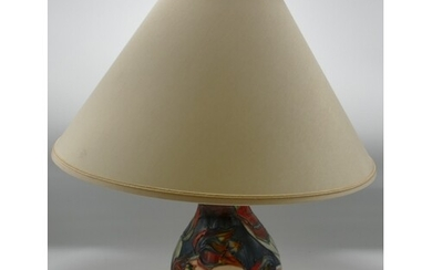 Moorcroft Red Tulip Lamp Base & Shade: silver line seconds, ...