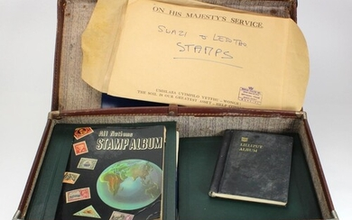 Original old time unpicked World mix in large suitcase and a...