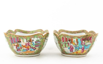 PAIR, 19TH C. CHINESE EXPORT ROSE MEDALLION BOWLS