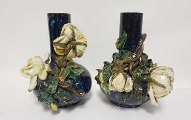 PAIR OF POTTERY VASES W/APPLIED ROSES