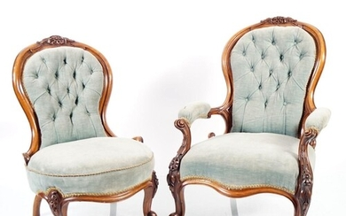 PAIR OF VICTORIAN WALNUT CHAIRS