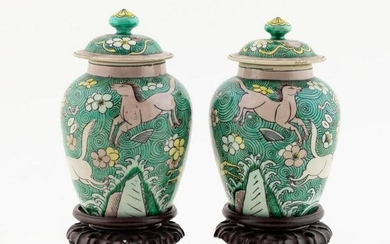PAIR, SMALL CHINESE FAMILLE VERTE COVERED JARS