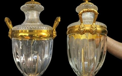 Pair of Large French Baccarat Style Crystal Bronze