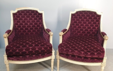 Pair of Louis XVI style white lacquered shepherds' chairs with...