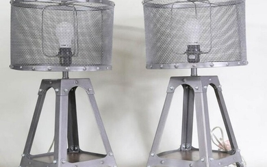 Pair of Pottery Barn Teen Metal Table Lamps