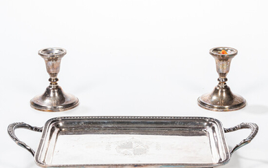Pair of Weighted Sterling Silver Candlesticks and a Silver-plated Footed Tray
