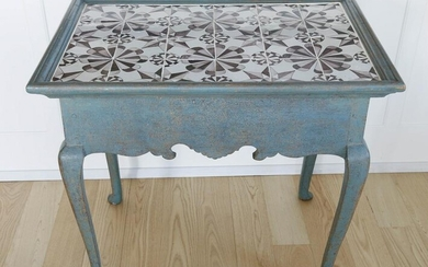Queen Anne Style Tile Top Serving Table, 19th Century