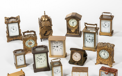 Seventeen American and European Carriage, Travel, and Desk Clocks