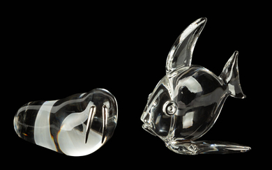 Steuben Large Tropical Fish & Walrus with Sterling Silver Tusks