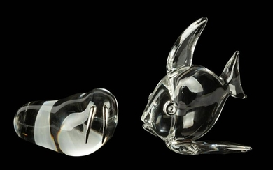 Steuben Large Tropical Fish & Walrus with Sterling