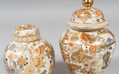 TWO JAPANESE SATSUMA-STYLE PORCELAIN COVERED JARS