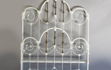 VICTORIAN STYLE WHITE PAINTED AND BRASS BED FRAME