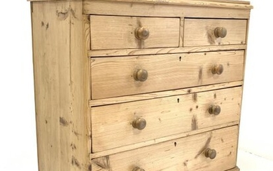 Victorian polished pine chest fitted with two short and...