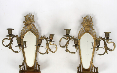 WALL LAMPS, with console part, brass, neo-renaissance, 19th century.