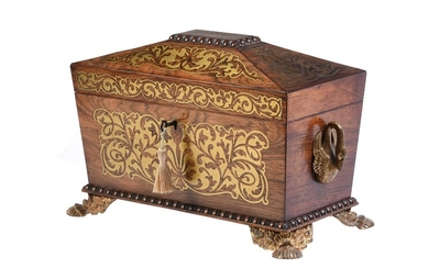 Y A Regency rosewood and brass marquetry inlaid tea caddy
