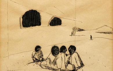 mid 20th Century ink drawing, Indigent Boys