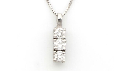 18 kt. White gold - Necklace with pendant - 0.18 ct Diamonds