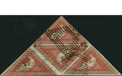 1853 DEEPLY BLUED PAPER 1d BRICK RED, a used triangular bloc...