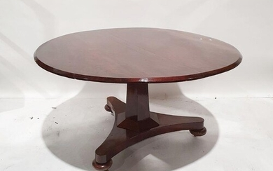 19th century mahogany circular breakfast table on faceted co...