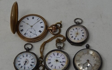 4 x Vintage Silver Pocket watches & a gold-coloured Pocket W...