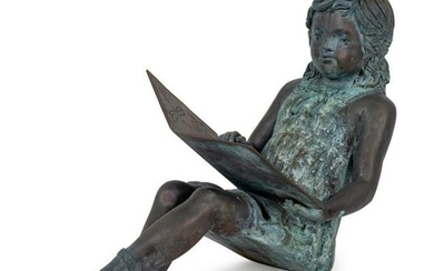 A Bronze Figure of a Young Girl Reading a Book Height