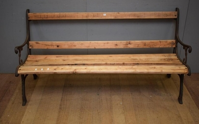 A CAST IRON WOODEN BENCH SEAT (A/F) (82H x 163W x 68D CM) (PLEASE NOTE THIS HEAVY ITEM MUST BE REMOVED BY CARRIERS AT THE CUSTOMER'S..