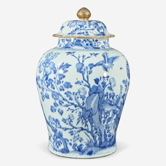 A Chinese blue and white porcelain large jar & cover