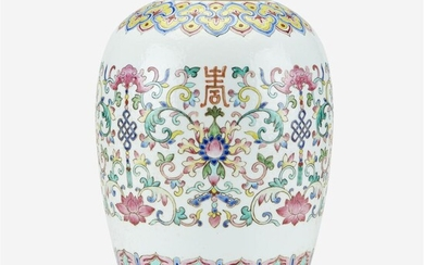 A Chinese famille rose-decorated porcelain ovoid jar Decorated with...
