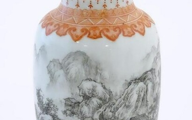 A Chinese small vase with monochrome mountainous