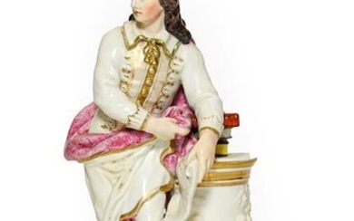 A Derby Porcelain Figure of Milton, circa 1780, standing holding...