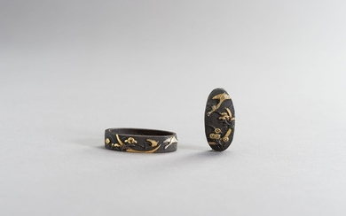 A FINE FUCHI AND KASHIRA WITH GEESE AND MOON