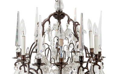 A Gilt Bronze and Glass Six-Light Chandelier with Fruit Prisms