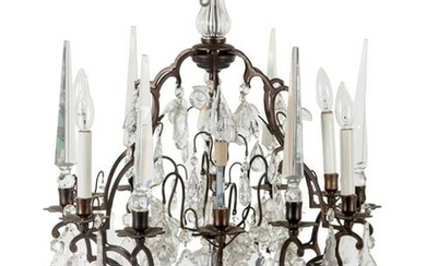 A Gilt Bronze and Glass Six-Light Chandelier with Fruit