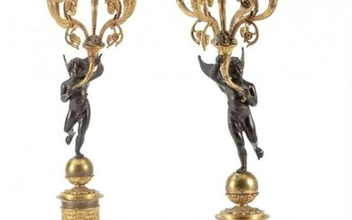 A LARGE PAIR OF 19TH C. EMPIRE STYLE BRONZE CANDELABRA