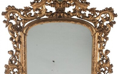 A Large French Rococo-Style Carved Giltwood Mirr