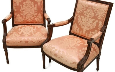 A PAIR 20TH CENTURY LOUIS XVI STYLE FAUTEUIL IN DAMASK