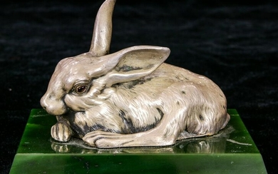 A Russian silver figure rabbit fashioned as a butler