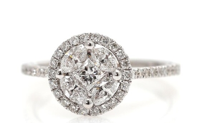 NOT SOLD. A diamond ring set with numerous diamonds weighing a total of app. 0.80 ct., mounted in 18k white gold. Size 50.5. – Bruun Rasmussen Auctioneers of Fine Art